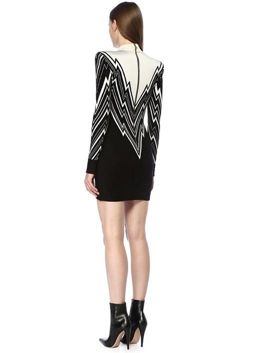 Siyah Beyaz Zikzak Jakarlı Mini Triko Elbise