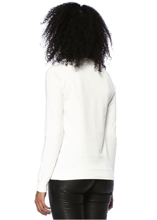 Beyaz Reglan Kollu Logo Baskılı Sweatshirt