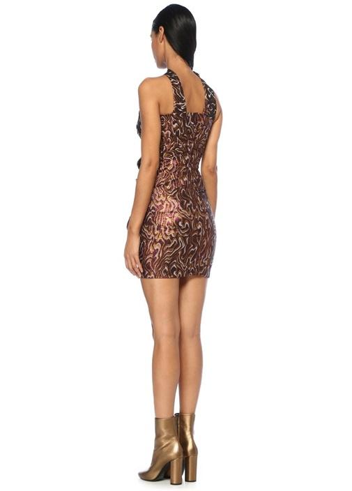 Synee Metalik Renk Tek Omuzlu Drapeli Mini Elbise