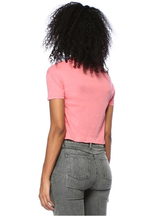 Carme Fifi Pembe Önü Düğümlü T-shirt