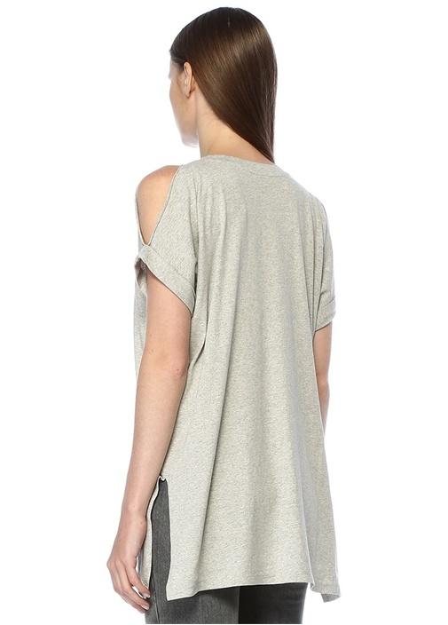 Cora Gri Melanj V Yaka Basic T-shirt