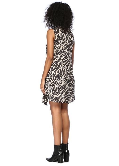 Jayda Kazuno Fermuarlı Önü Bağcıklı Mini Elbise