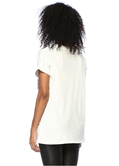 Bay Imogen Boy Beyaz Bisiklet Yaka Baskılı T-shirt