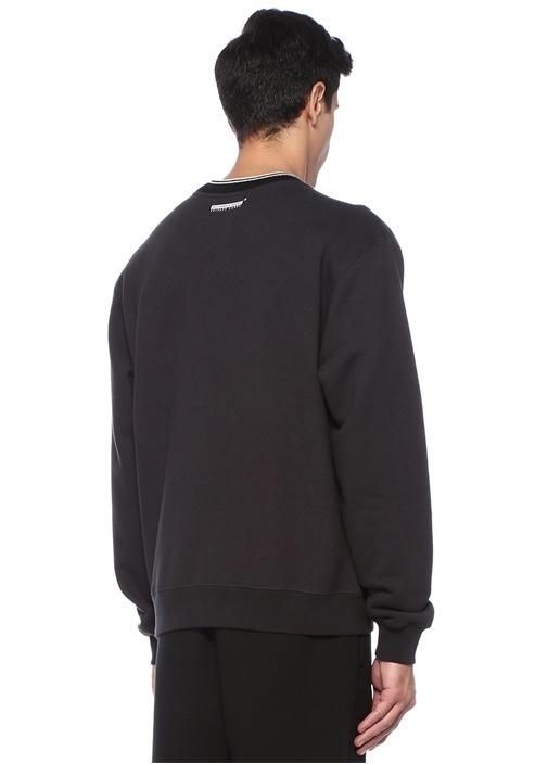 Siyah Bisiklet Yaka Logo Nakışlı Sweatshirt