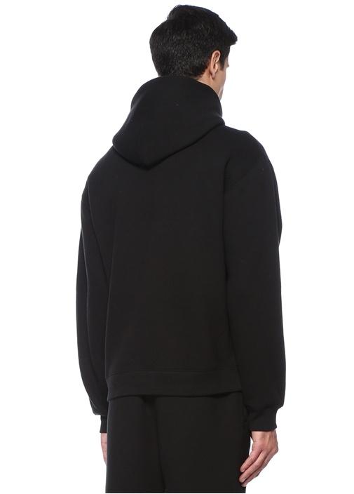 Siyah Kapüşonlu Baskılı Sweatshirt