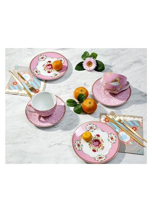 Floral Pembe 2li Çay Fincanı ve Kek Tabağı Seti