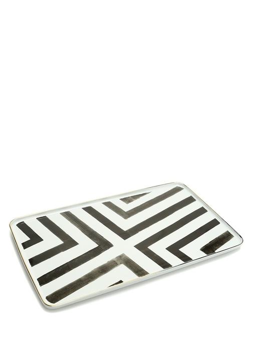 Sol Y Sombra Beyaz Siyah Porselen Servis Tabağı