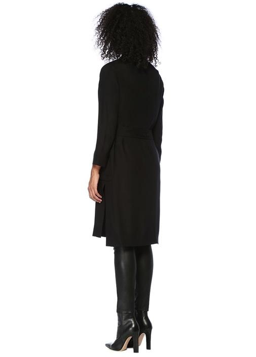 Kady Siyah Yakası Kuşgözlü Kimono Hırka