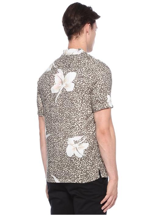 Kuhi Bej Çiçek Baskılı Apaç Yaka Gömlek