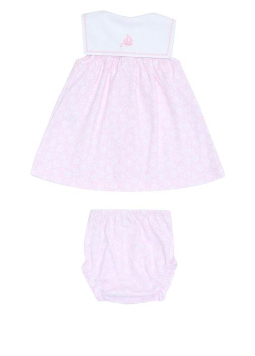 Pembe Mikro Desenli Kız Bebek Elbise