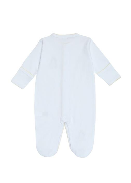 Beyaz Zürafa Nakışlı Şapkalı Unisex Bebek Tulum