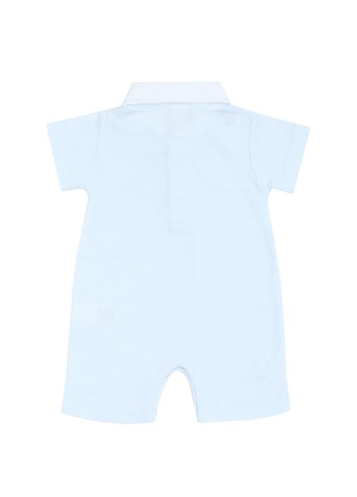Mavi Beyaz Çizgili Nakışlı Erkek Bebek Tulum