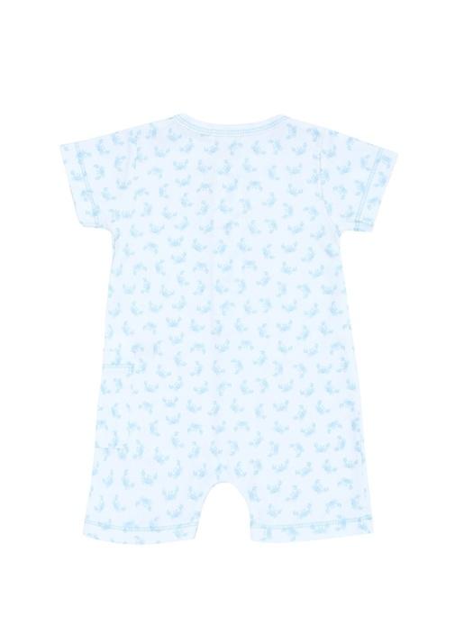 Beyaz Mavi Yengeç Baskılı Erkek Bebek Tulum