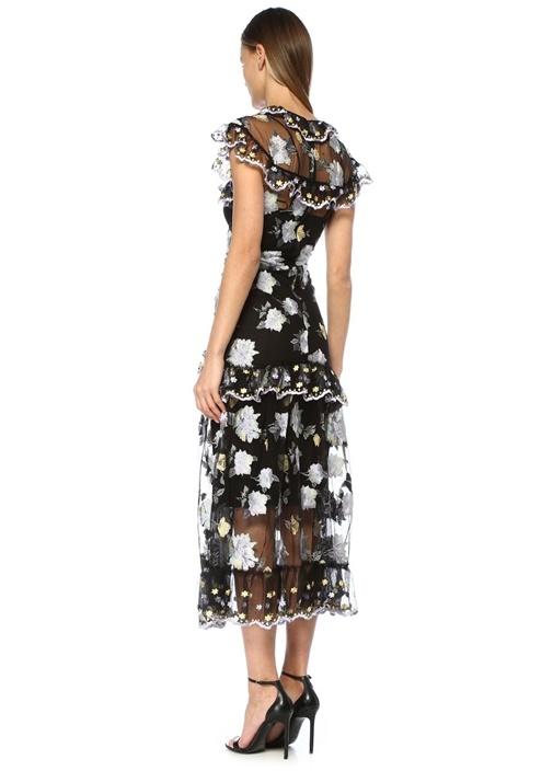 Floating Siyah Çiçek Nakışlı Maksi Tül Elbise