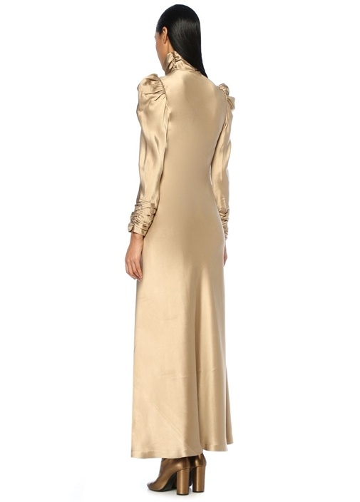 Unbridled Valiant Tunic Gold Maksi Saten Elbise