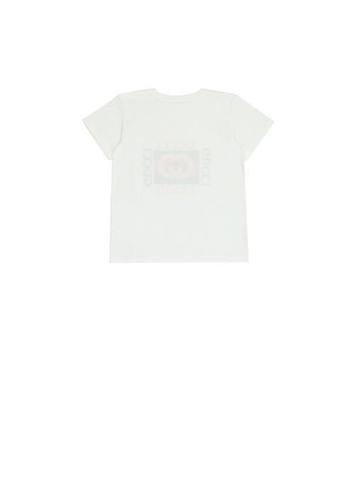 Beyaz Logo Baskılı Unisex Bebek T-shirt