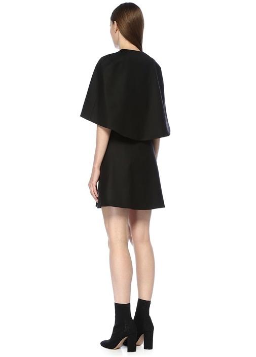 Siyah Pelerin Detaylı Mini Yün Elbise