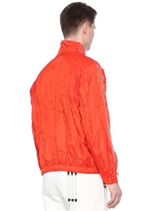 Kırmızı Yakası Fermuarlı Şeritli Sweatshirt