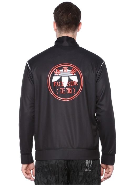 Siyah Dik Yaka Yazı Baskılı Şeritli Sweatshirt