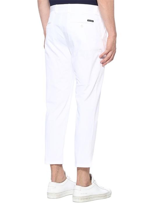 Beyaz 4 Cepli Logolu Pantolon