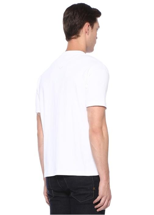 Memento 3 Beyaz Bisiklet Yaka Kaplanlı T-shirt