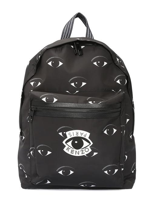 Siyah Göz Baskılı Logolu Erkek Sırt Çantası