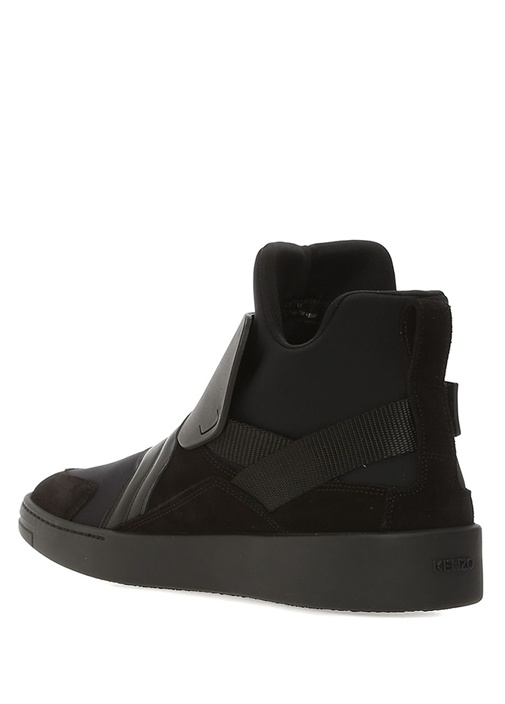 Siyah Garnili Logolu Erkek Nubuk Sneaker