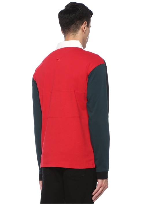 Colorblocked Polo Yaka Logo Patchli Sweatshirt