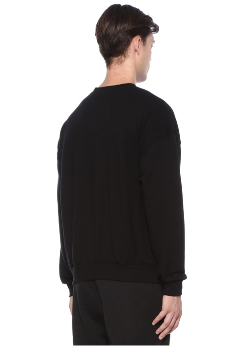 Siyah Logo Baskılı Organik Pamuk sweatshirt