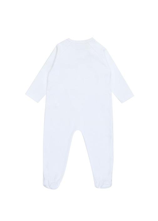 Beyaz Mavi Logolu Erkek Bebek Çantalı Tulum Seti