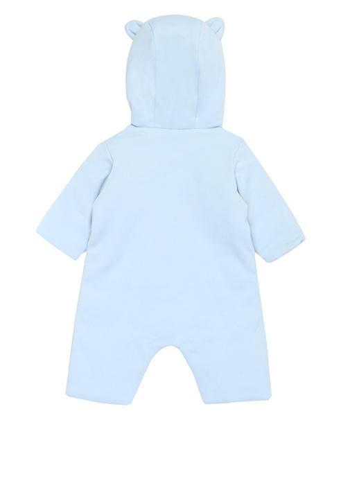 Mavi Kapüşonlu Erkek Bebek Organik Pamuk Tulum