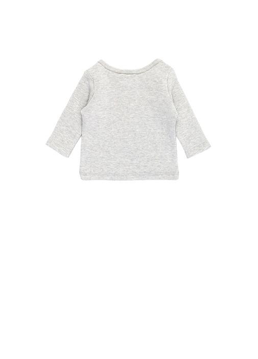 Gri Logolu Erkek Bebek Organik Pamuklu Sweatshirt