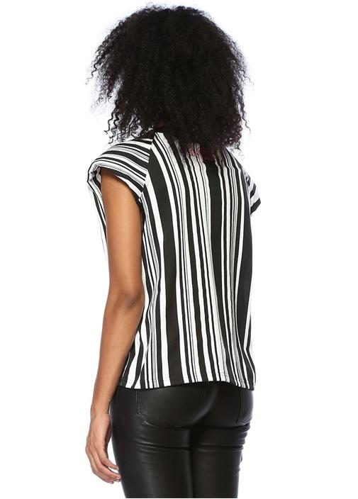Power Siyah Beyaz Çizgili Vatkalı T-shirt