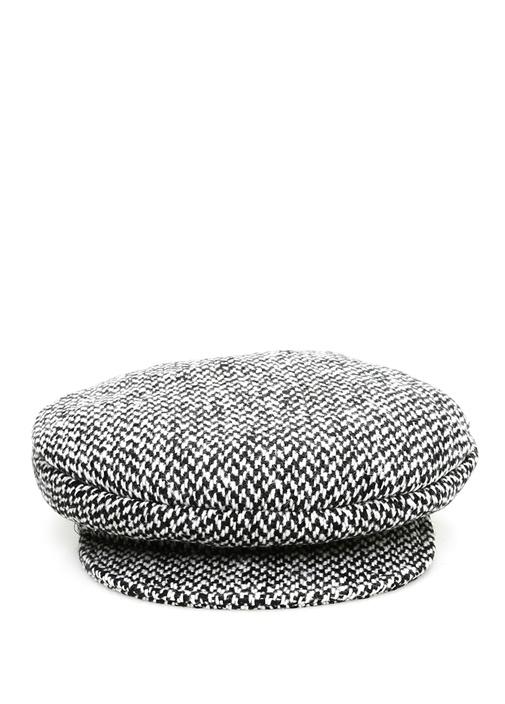 Siyah Beyaz Dokulu Kadın Tweed Şapka