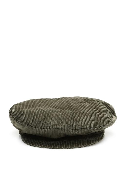 Haki Dokulu Kadın Kadife Şapka
