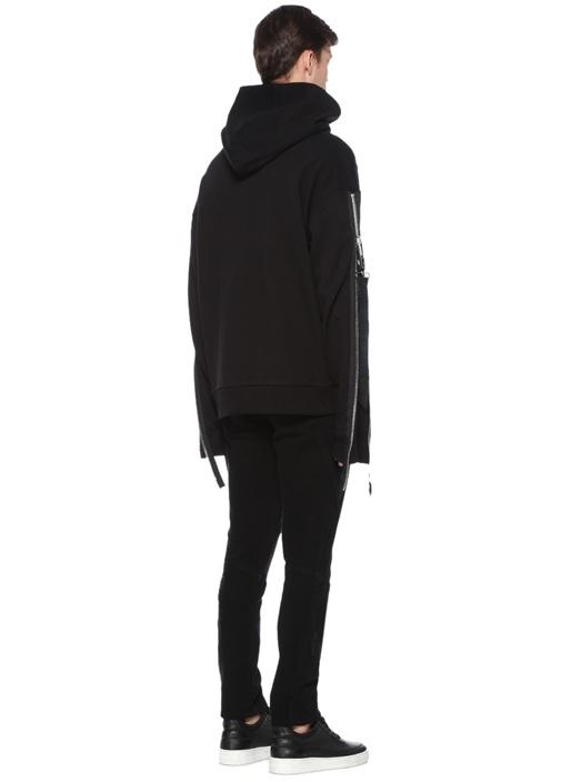 Siyah Karışık Baskılı Kapüşonlu Sweatshirt