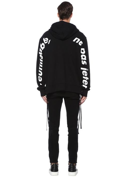 Siyah Kapüşonlu Garni Detaylı Bağcıklı Sweatshirt