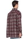 Bordo İngiliz Yaka Ekose Desenli Tweed Gömlek