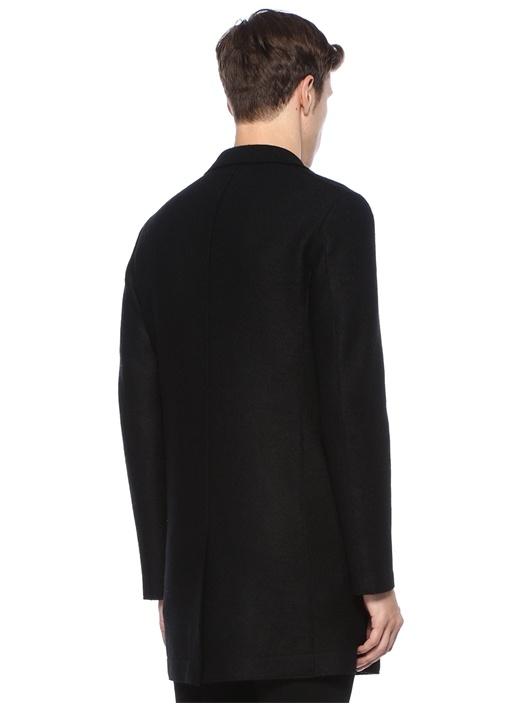 Siyah Kelebek Yaka Dokulu Yün Palto