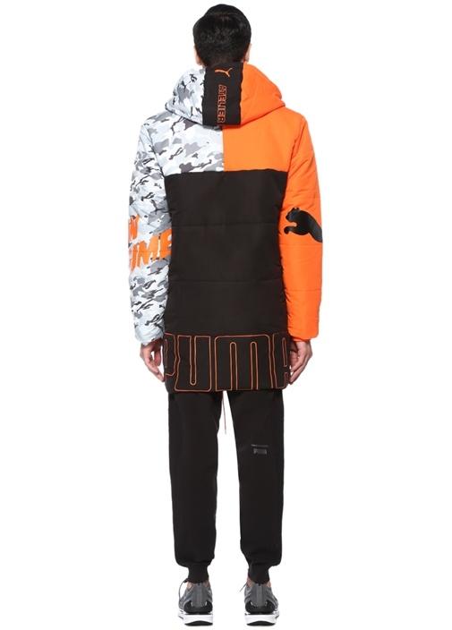 Siyah Kapüşonlu Kamuflaj Detaylı Midi Ceket