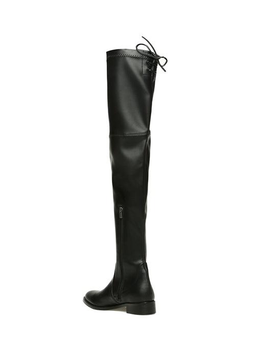 Siyah Bağcık Detaylı Kadın Çizme