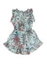 Mavi Çiçek Baskılı Kız Çocuk Elbise