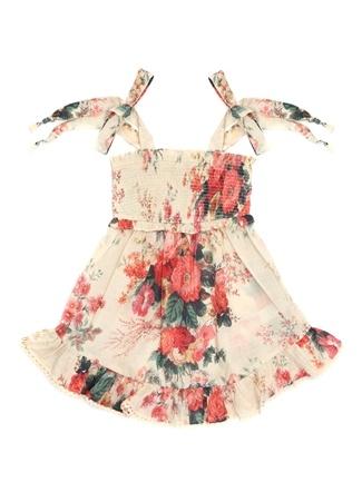 Zimmermann Kız Çocuk Ekru Çiçek Baskılı Fırfırlı Elbise Bej 10 Yaş EU