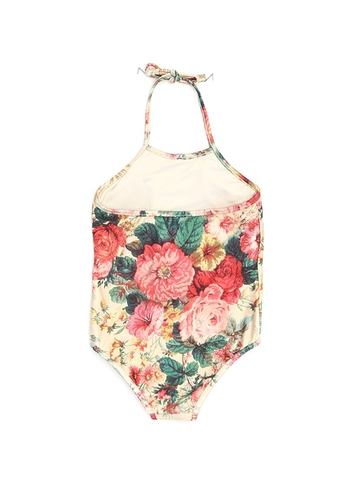 Bej Çiçek Baskılı Kız Çocuk Mayo
