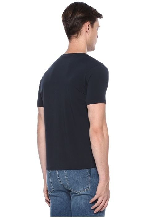 Obscur Lacivert Bisiklet Yaka Basic T-shirt