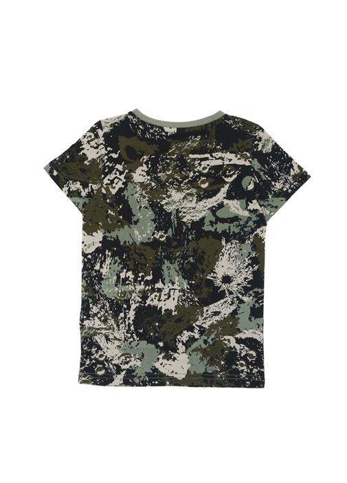 Yeşil Kamuflaj Desenli Logolu Erkek Çocuk T-shirt