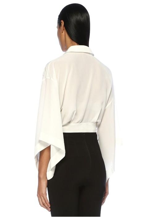 Beyaz Kimono Formlu Beli Kemerli İpek Bluz