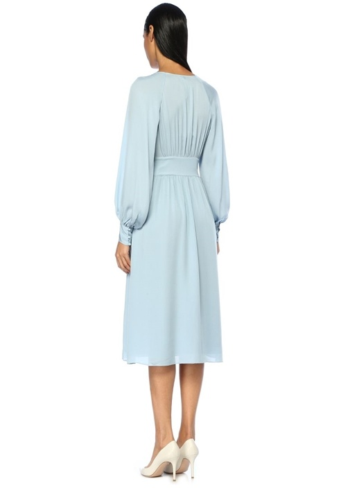 Kyria Mavi V Yaka Büzgülü Midi Kaşmir Elbise