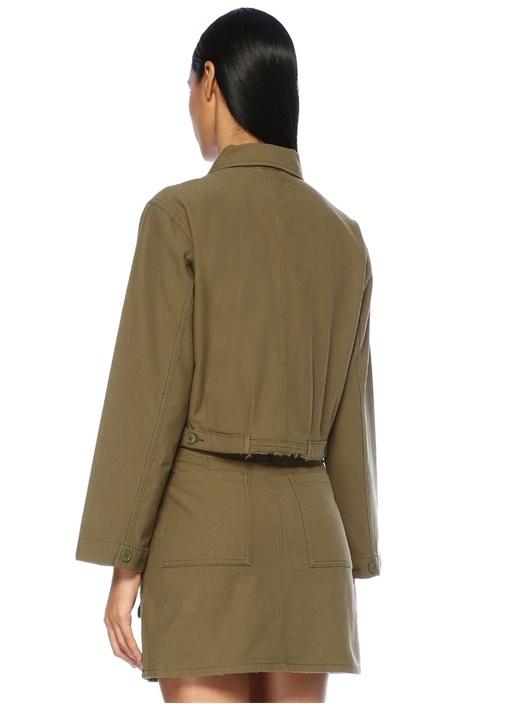 Haki Düğmeli Yıpratma Detaylı Ceket
