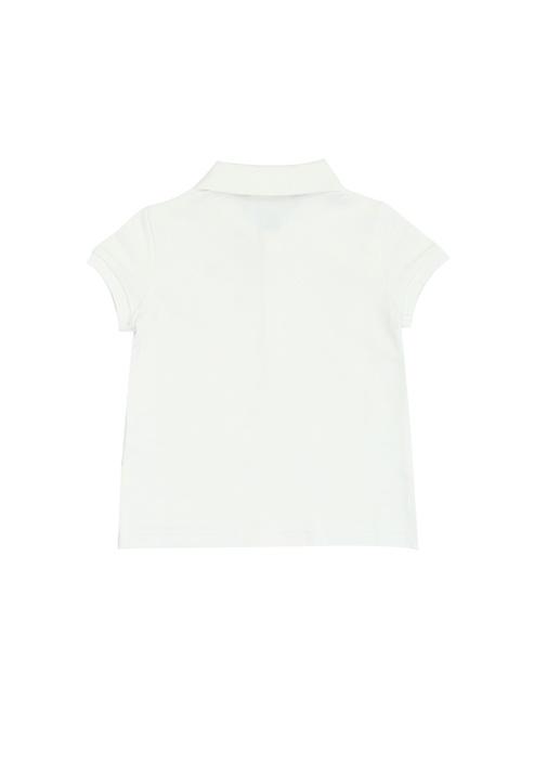 Beyaz Çapa Nakışlı Polo Yaka Kız Çocuk T-shirt